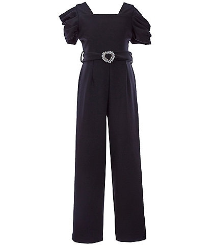 Rare Editions Big Girls 7-16 Puffed-Sleeve Scuba Crepe Jumpsuit