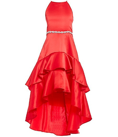 Rare Editions Big Girls 7-16 Satin Ruffle-Hem Hi-Low Dress