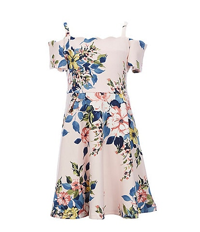 Rare Editions Big Girls 7-16 Scalloped Floral Scuba Fit-And-Flare Dress