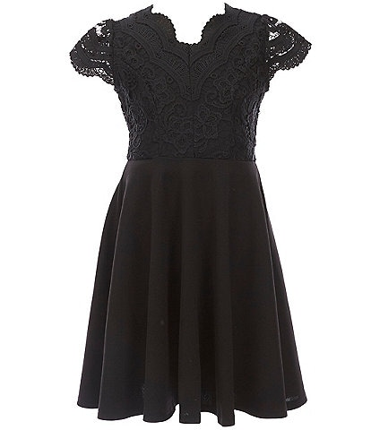 Rare Editions Big Girls 7-16 Scalloped-Lace/Scuba Fit-And-Flare Dress
