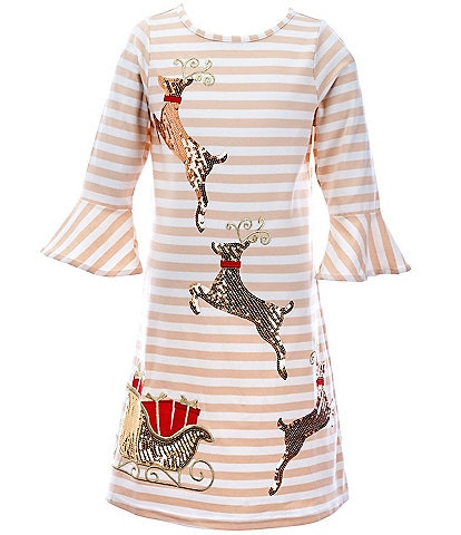 Rare Editions Big Girls 7-16 Sequin Sleigh & Reindeer Striped A-Line Dress