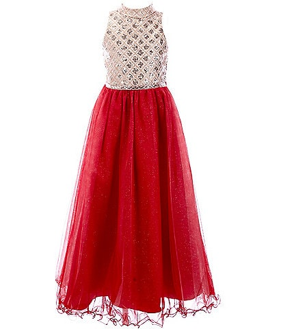Rare Editions Big Girls 7-16 Sequin/Glitter-Mesh Long Dress