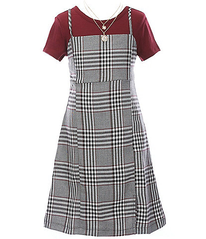 Rare Editions Big Girls 7-16 Short-Sleeve Rib-Knit Tee & Plaid Jumper Dress