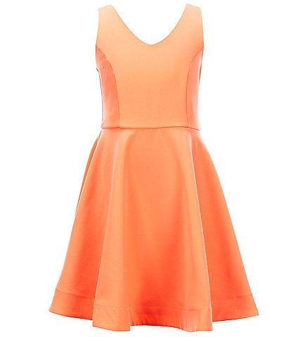 Rare Editions Big Girls 7-16 Sleeveless Bow-Back Fit-And-Flare Dress