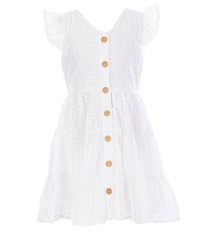 Rare Editions Big Girls 7-16 Flutter-Sleeve Eyelet-Embroidered A-Line Dress