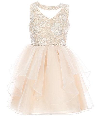 Rare Editions Big Girls 7-16 Sleeveless Sequin Embroidered Bodice Mesh Organza Dress