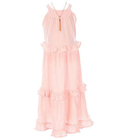 Rare Editions Big Girls 7-16 Solid Textured-Gauze Ruffled Long Dress
