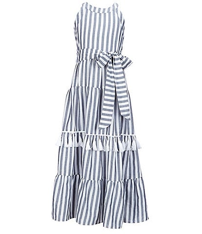 Rare Editions Big Girls 7-16 Tassel-Trim Striped Maxi Dress