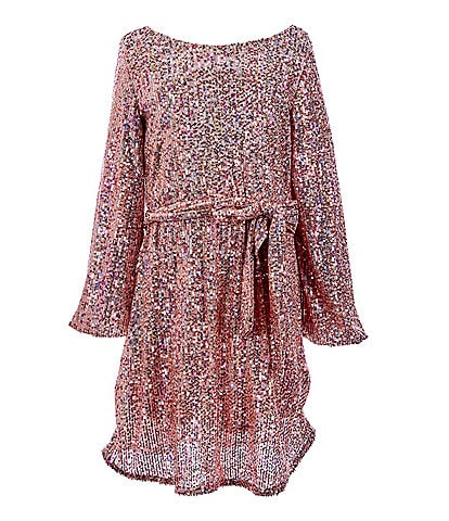 Rare Editions Big Girls 7-16 Tie-Sash Sequin A-Line Dress