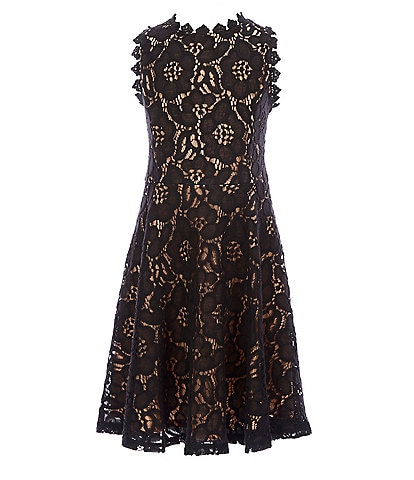 Rare Editions Big Girls 7-16 Two-Tone-Lace Fit-And-Flare Dress