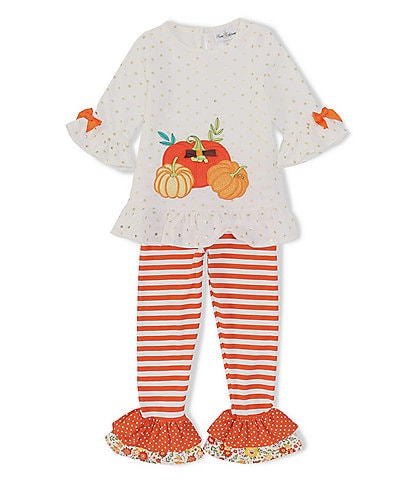 Rare Editions Little Girls 2T-6X 3/4 Sleeve Pumpkin Patch Foiled Knit Top & Striped Tiered Legging Set