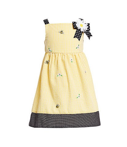 Rare Editions Little Girls 2T-6X Bee-Embroidered Seersucker Fit-And-Flare Dress