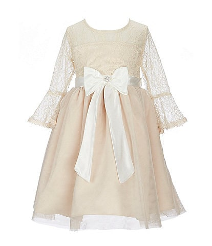 Rare Editions Little Girls 2T-6X Bell Sleeve Bow Lace Fit-And-Flare Dress