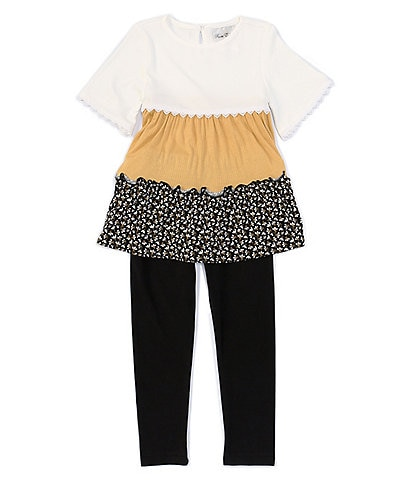 Rare Editions Little Girls 2T-6X Bell-Sleeve Colorblock Tiered Top & Leggings Set