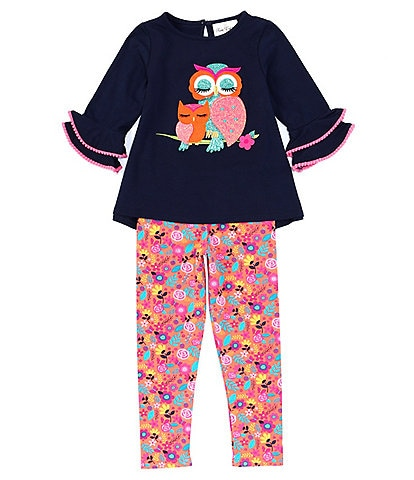 Rare Editions Little Girls 2T-6X Bell-Sleeve Owl Top & Floral Leggings Set