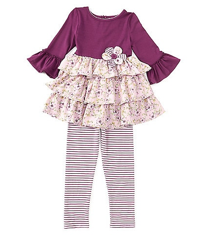 Rare Editions Little Girls 2T-6X Bell-Sleeve Solid/Floral Tunic Top & Striped Leggings Set