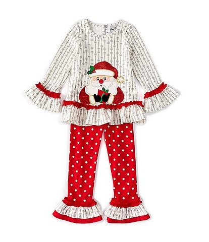 Rare Editions Little Girls 2T-6X Bell-Sleeve Striped Santa Top & Dotted Leggings Set