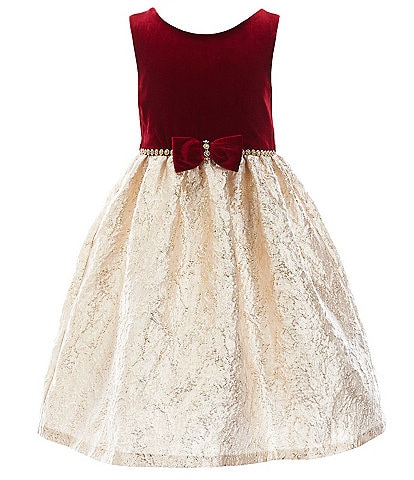 Rare Editions Little Girls 2T-6X Bow-Waist Velvet/Brocade Fit-And-Flare Dress