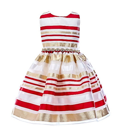 Rare Editions Little Girls 2T-6X Burnout Organza Stripe Fit-And-Flare Dress