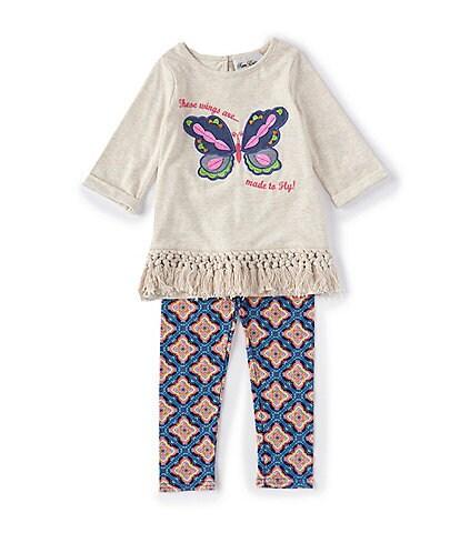 Rare Editions Little Girls 2T-6X Butterfly-Applique Top & Geometric-Print Leggings Set