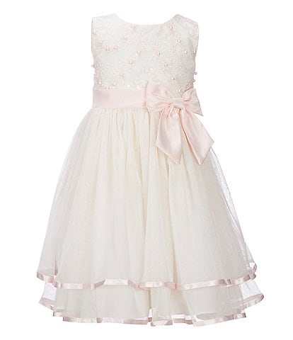 Rare Editions Little Girls 2T-6X Embellished/Mesh Ribbon-Trim Fit-And-Flare Dress