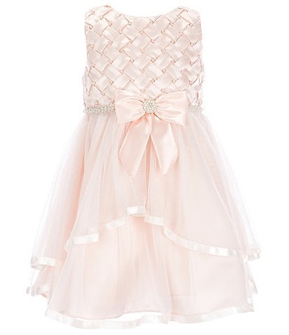Rare Editions Little Girls 2T-6X Embroidered Basket Weave With Pearl Ribbon-Trim Sleeveless Fit & Flare Dress