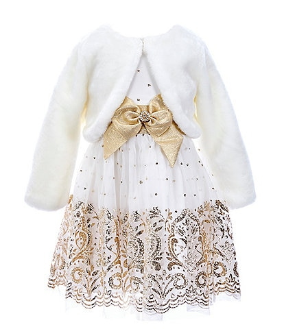 Rare Editions Little Girls 2T-6X Faux-Fur Shrug & Glitter Border-Hem Fit-And-Flare Dress Set