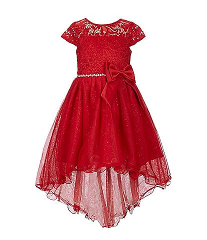 Rare Editions Little Girls 2T-6X Glitter-Accented Lace/Sheer-Overlay Hi-Low Dress