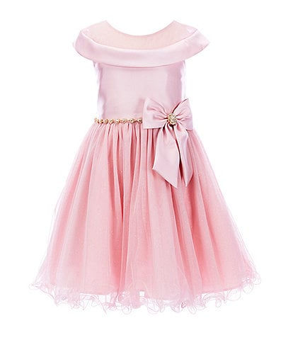 Rare Editions Little Girls 2T-6X Illusion Mikado/Mesh Wire-Hem Fit-And-Flare Dress