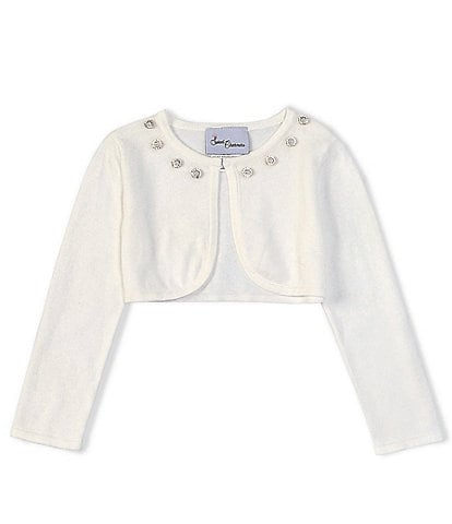 Rare Editions Little Girls 2T-6X Long-Sleeve Pearl Trim-Neck Knit Cardigan