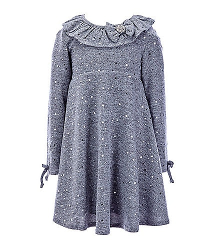 Rare Editions Little Girls 2T-6X Long-Sleeve Ruffled Foil Hacchi Fit-and-Flare Dress