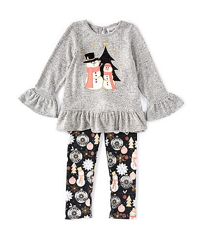 Rare Editions Little Girls 2T-6X Long-Sleeve Snowman Hacci Top & Printed Legging Set