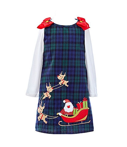 Rare Editions Little Girls 2T-6X Long-Sleeve Tee & Santa Claus And Reindeer Plaid Jumper Dress Set