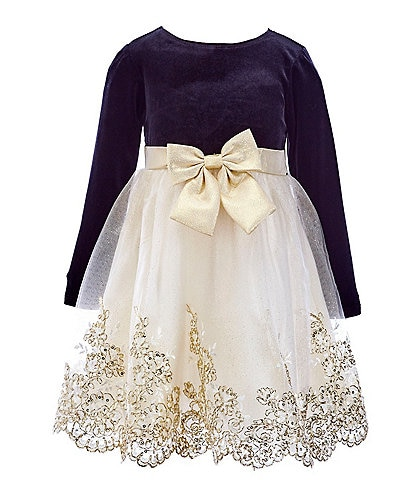 Rare Editions Little Girls 2T-6X Long-Sleeve Velvet Bodice Beaded Embroidery Glittered Skirt Dress
