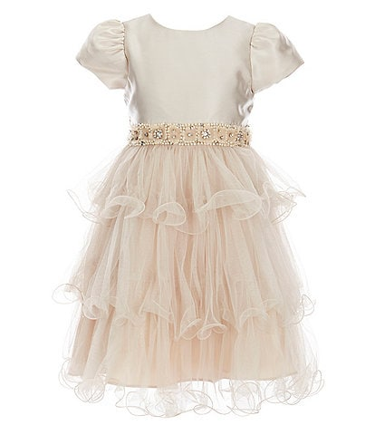 Rare Editions Little Girls 2T-6X Mikado/Tulle Wire-Hem Fit-And-Flare Dress