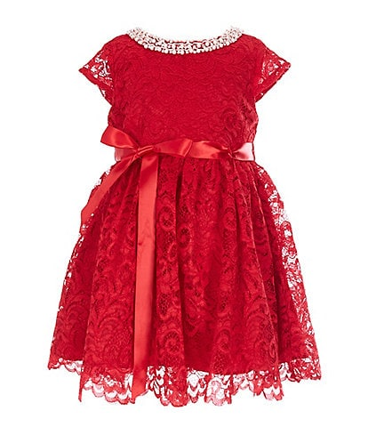 Rare Editions Little Girls 2T-6X Pearl-Neck Lace A-Line Dress