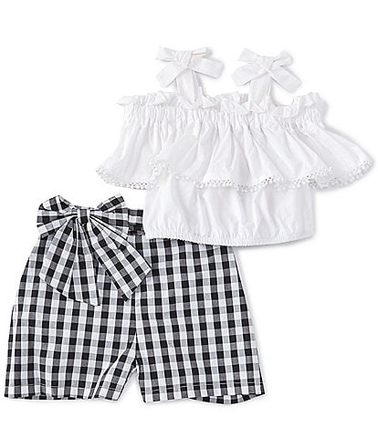 Rare Editions Little Girls 2T-6X Popover Tank Top & Gingham Shorts Set