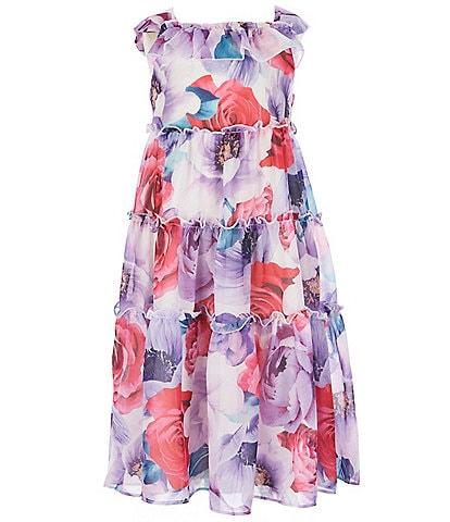Rare Editions Little Girls 2T-6X Printed Chiffon Tiered Maxi Dress