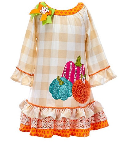 Rare Editions Little Girls 2T-6X Pumpkin-Applique Mixed-Media Shift Dress