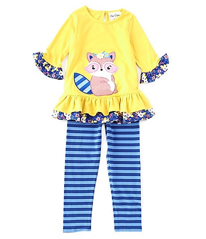 Rare Editions Little Girls 2T-6X Racoon-Appliqued Tunic Top & Striped Leggings Set