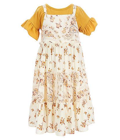 Rare Editions Little Girls 2T-6X Ruffle-Sleeve Knit Tee & Paisley Challis Tiered Dress Set