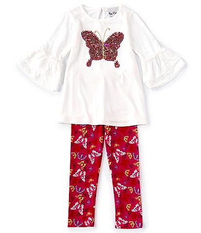 Rare Editions Little Girls 2T-6X Sequin Butterfly Tunic Top & Printed Leggings Set
