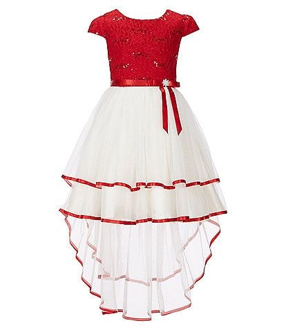 Rare Editions Little Girls 2T-6X Sequin-Embellished Lace/Mesh-Overlay Hi-Low Dress