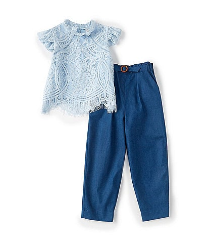 Searington Road Little Girls 2T-6X Short-Sleeve Lace Top & Belted Denim Pant Set