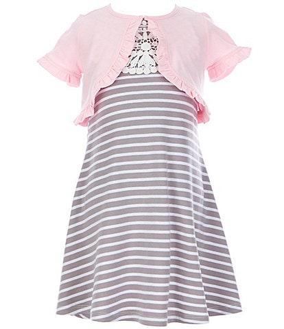 Rare Editions Little Girls 2T-6X Short-Sleeve Shrug & Lace-Yoke Striped Shift Dress Set