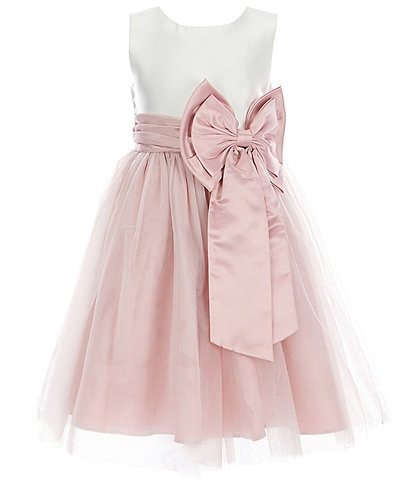 Rare Editions Little Girls 2T-6X Sleeveless Color-Block Satin Bow Waist Mesh Fit-And-Flare Dress