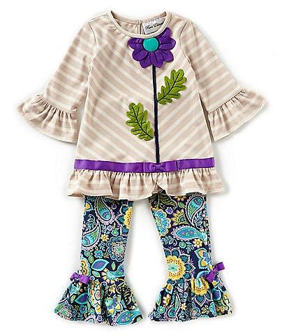 Rare Editions Little Girls 2T-6X Stripe Flower Applique Tunic & Paisley Print Leggings Set