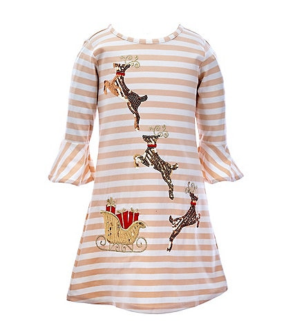 Rare Editions Little Girls 2T-6X Striped Reindeer A-Line Dress