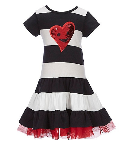 Rare Editions Little Girls 2T-6X Striped Valentine's Day Heart A-Line Dress