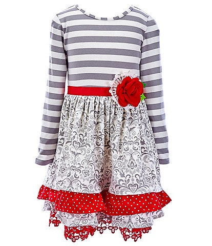 Rare Editions Little Girls 2T-6X Striped/Printed Fit-And-Flare Dress